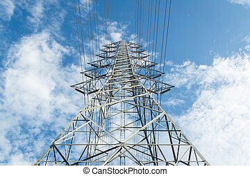 high voltage post with sky background