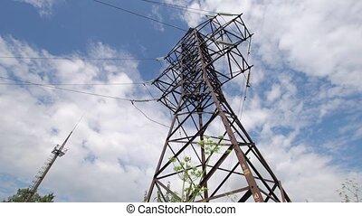 High voltage post.High-voltage tower sky background....
