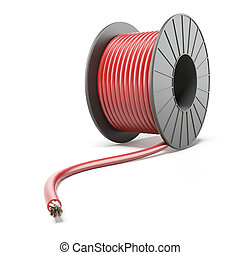 High-voltage Power Cable isolated on a white background. 3d...