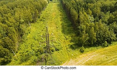 High voltage power line. Aerial view.