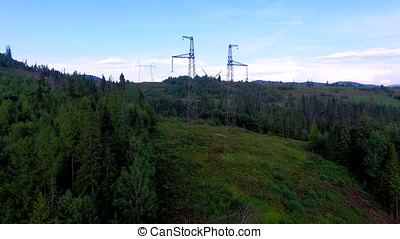 High-voltage power line. electricity supply across the...