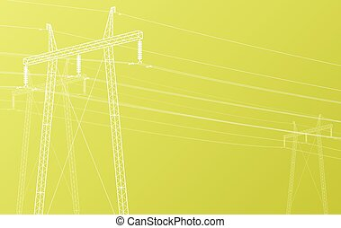 High voltage power line grid vector