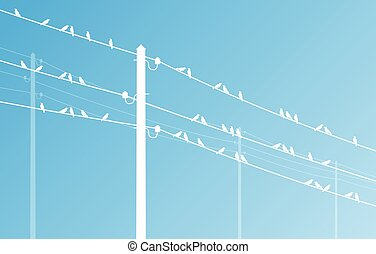 High voltage power line grid vector