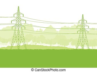 High voltage power line - High voltage power transmission...