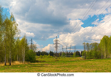 High-voltage power line in natural landscape