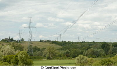 High-voltage power line in the ladscape - High-voltage power...