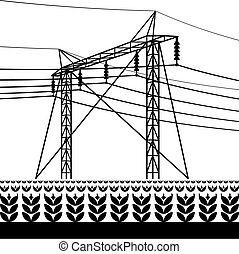 High voltage power line over the field with plants ? vector illustration