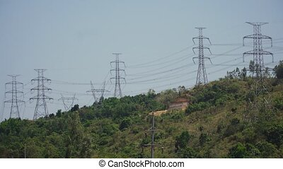 High voltage power line. Philippines, Luzon. - Power pylons...