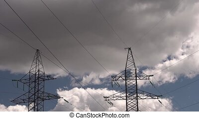 High-voltage power line - Time interval of the cloudy sky,...