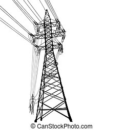 Vector silhouette of high voltage power lines and pylon