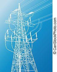 High voltage power lines and pylon vector background for poster