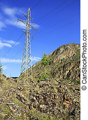High voltage power lines in Altai Mountains