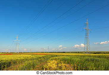 High-voltage power lines in the fields of Crimea
