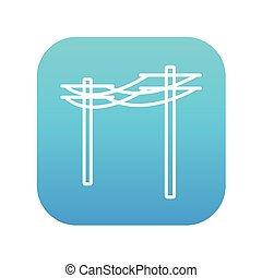 High voltage power lines line icon.