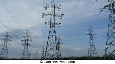 High voltage power lines panorama - High-voltage electric...