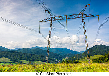 high voltage power lines tower in Carpathian mount - power...