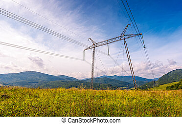 high voltage power lines tower in Carpathian mountains....