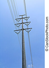 High voltage power pole.