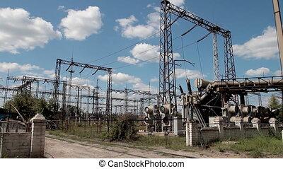 high voltage power - scene of voltage pylons