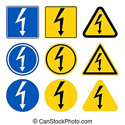 High Voltage Sign. Black arrow isolated in yellow triangle on white background. Warning icon. Vector illustration