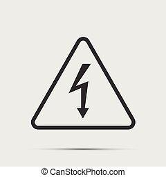 High Voltage Sign. Black icon on white background. vector illustration