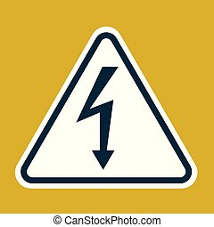 High Voltage Sign. Danger symbol. Black arrow isolated in white triangle on yelow background. Warning icon. Vector illustration