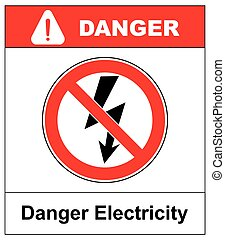High Voltage Sign. Danger symbol. Black arrow isolated in yellow triangle on white background. Warning icon. Vector illustration