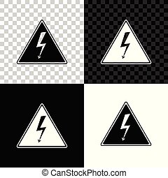 High voltage sign icon isolated on black, white and transparent background. Danger symbol. Arrow in triangle. Warning icon. Vector Illustration