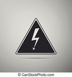 High voltage sign icon isolated on grey background. Danger symbol. Arrow in triangle. Warning icon. Flat design. Vector Illustration