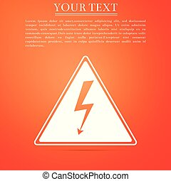 High voltage sign icon isolated on orange background. Danger symbol. Arrow in triangle. Warning icon. Flat design. Vector Illustration