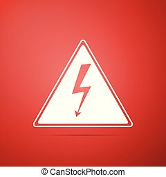 High voltage sign icon isolated on red background. Danger symbol. Arrow in triangle. Warning icon. Flat design. Vector Illustration
