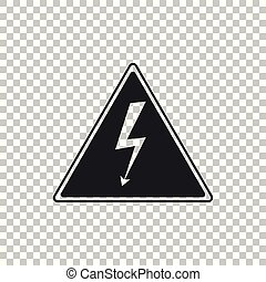 High voltage sign icon isolated on transparent background. Danger symbol. Arrow in triangle. Warning icon. Flat design. Vector Illustration