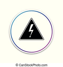 High voltage sign icon isolated on white background. Danger symbol. Arrow in triangle. Warning icon. Circle white button. Vector Illustration