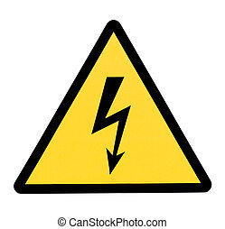 high voltage sign, isolated in white background.