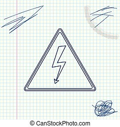 High voltage sign line sketch icon isolated on white background. Danger symbol. Arrow in triangle. Warning icon. Vector Illustration