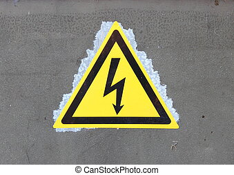 High voltage sign on a transformer station
