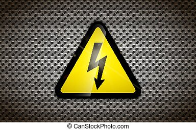 High voltage sign on metallic grid, industrial background
