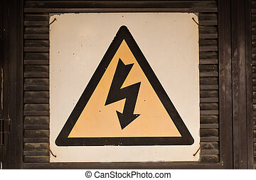 High voltage sign on the white background