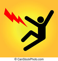 High voltage sign - Vector illustration of a high voltage ...