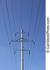 High voltage - One high voltage pylon and electricity lines