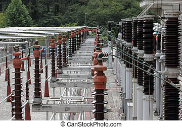 High voltage substation at a power plant.