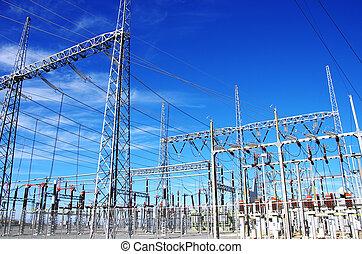 high-voltage substation on blue sky