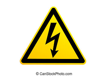 high voltage symbol over white. please note this is not an...