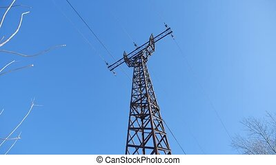 high-voltage tower against a blue sky Electricity wires...