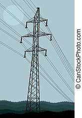 High voltage tower and line background vector