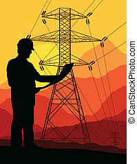 High voltage tower and line background vector for poster