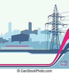 High-voltage tower silhouette on the abstract urban background. Vector illustration.
