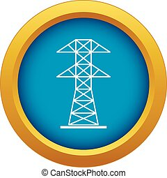 High voltage tower icon blue vector isolated