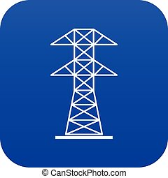 High voltage tower icon digital blue