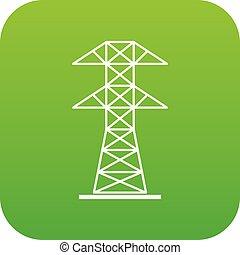 High voltage tower icon digital green